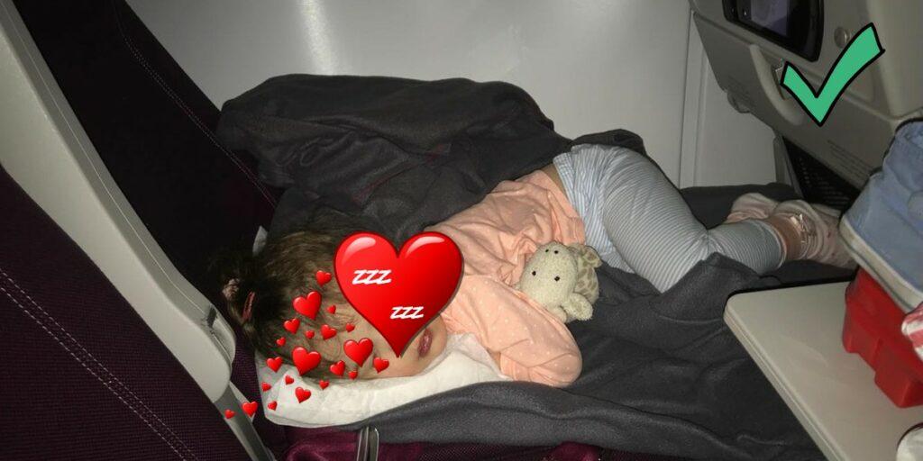 Sleeping toddler using 1st Class Kid Travel Pilow